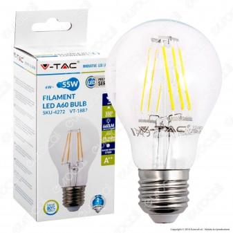 V-Tac VT-1887 Lampadina LED E27 6W Bulb A60 Filamento - SKU 4272