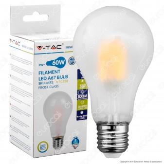 V-Tac VT-1938 Lampadina LED E27 8W Bulb A67 Frost Filamento - SKU 4483 / 4484 / 4485