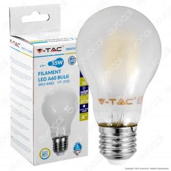 V-Tac VT-1935 Lampadina LED E27 6W Bulb A60 Frost Filamento - SKU 4480 / 4481 / 4482