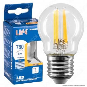 Life Lampadina LED E27 6W MiniGlobo G45 Filamento - mod. 39.920259C1 / 39.920259N