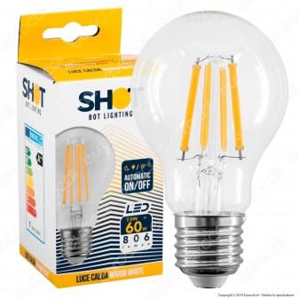 Bot Lighting Shot Lampadina LED E27 7W Bulb A60 Filamento con Sensore Crepuscolare - mod. WLDSENS08X2