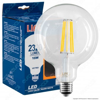 Life Lampadina LED E27 16W Globo G125 Filamento - mod. 39.920387C1 / 39.920387N