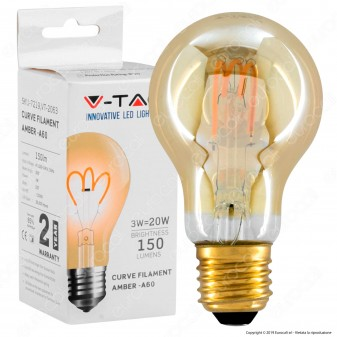 V-Tac VT-2063 Lampadina LED E27 3W Bulb A60 Filamento a Spirale Ambrata - SKU 7219