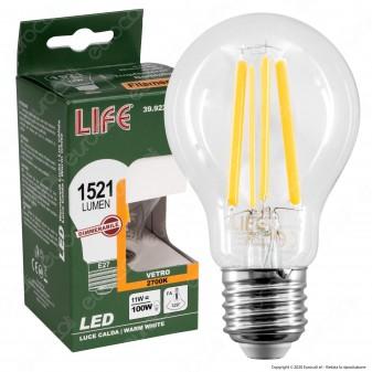 Life Lampadina LED E27 11W Bulb A60 Filamento Dimmerabile - mod. 39.922165CD