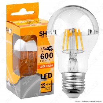 Bot Lighting Lampadina LED E27 7,5W Bulb A60 Filamento Cromata
